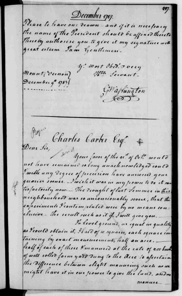 George Washington to Charles Carter (December 14