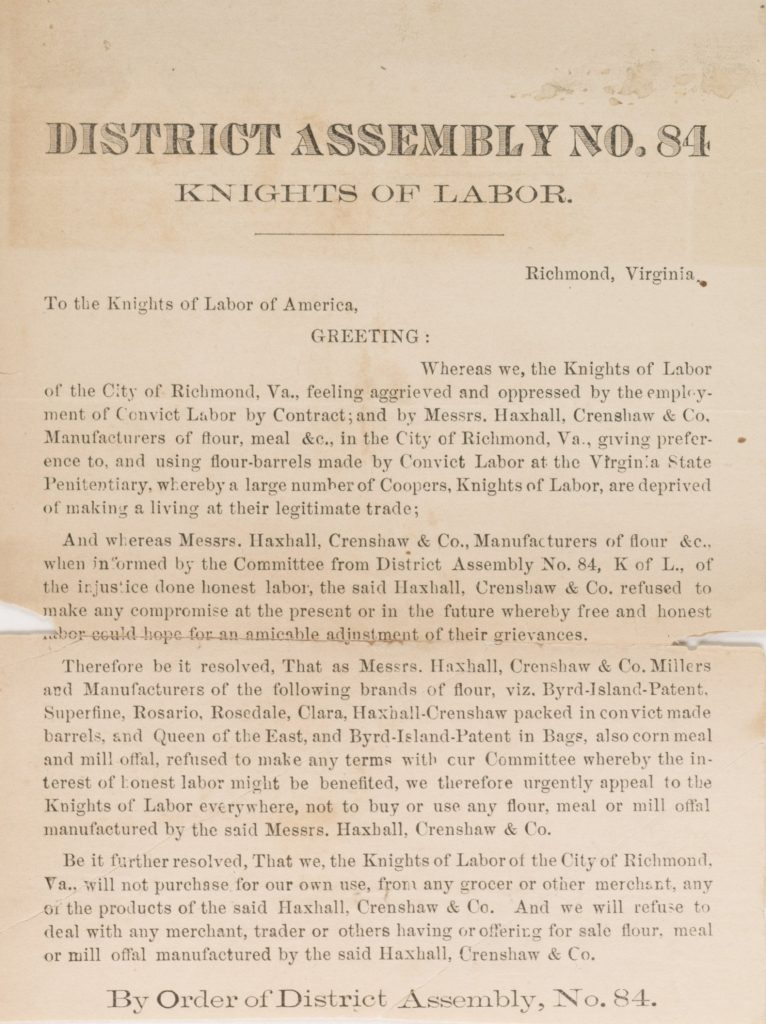 District Assembly No. 84 Knights of Labor.