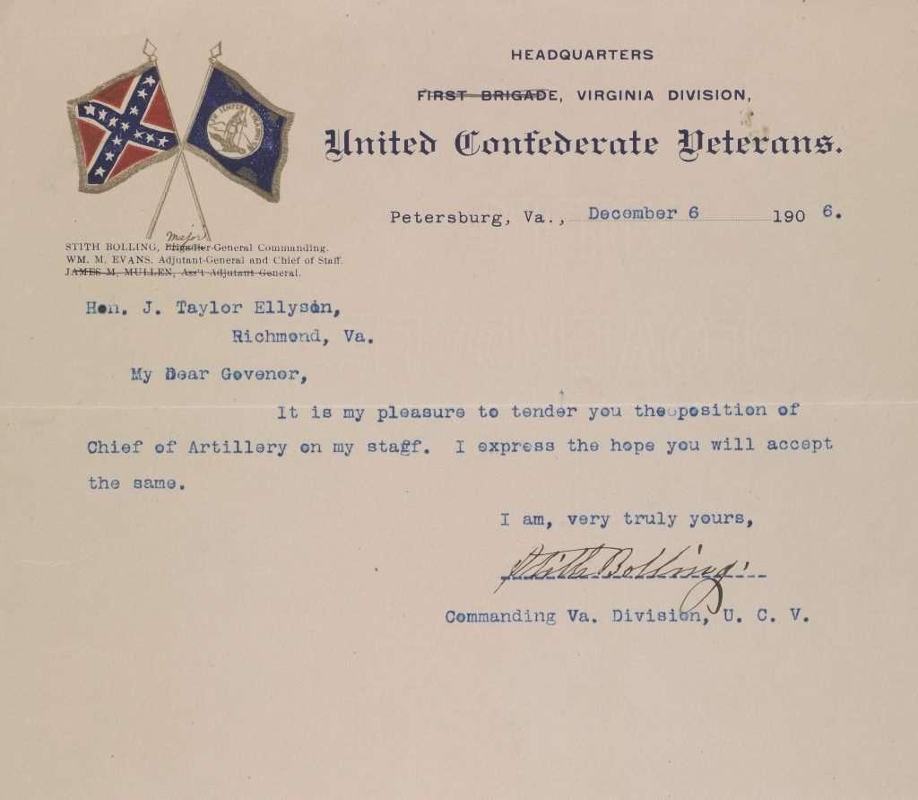 Letter to Governor James Taylor Ellyson