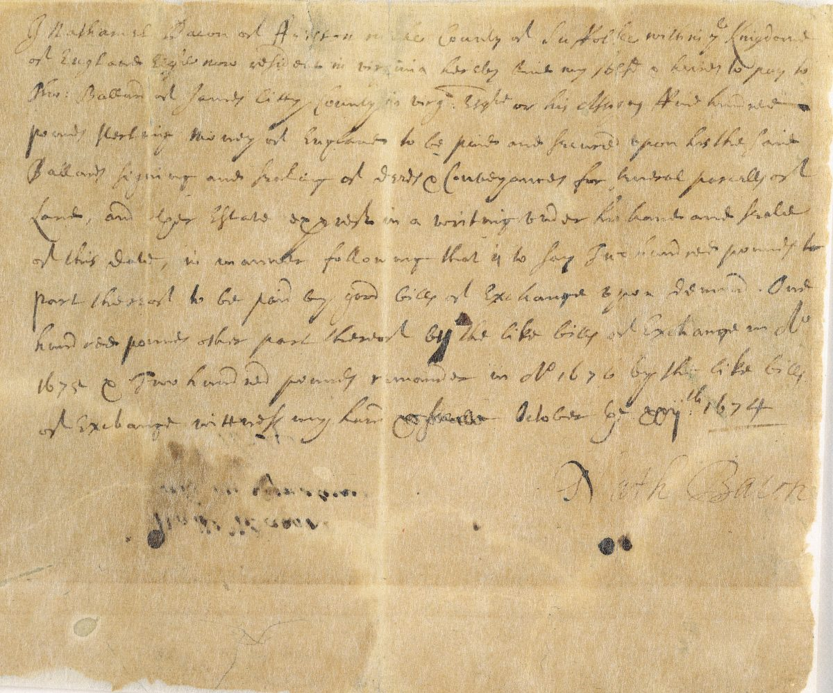 Note from Nathaniel Bacon