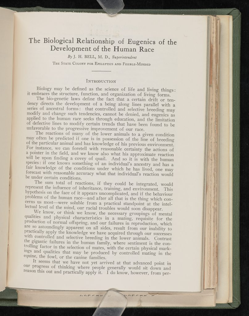 Bell's The biological relationship of eugenics to the development of the human race (1930)