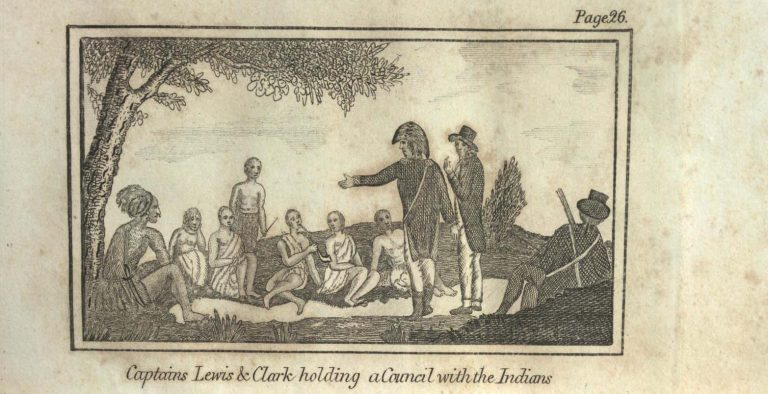 Captains Lewis & Clark holding a Council with the Indians