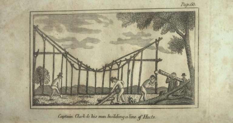 Captain Clark & his men building a line of Huts.