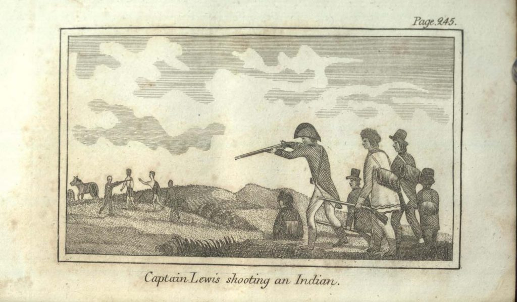 Captain Lewis shooting an Indian.