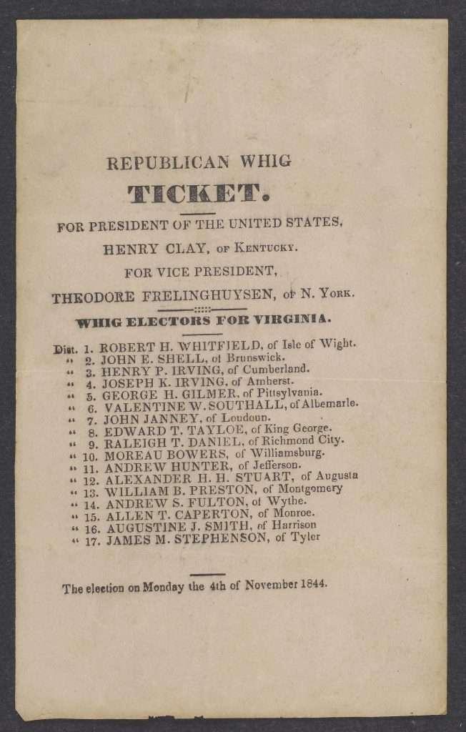 1844 Whig Electoral Ticket
