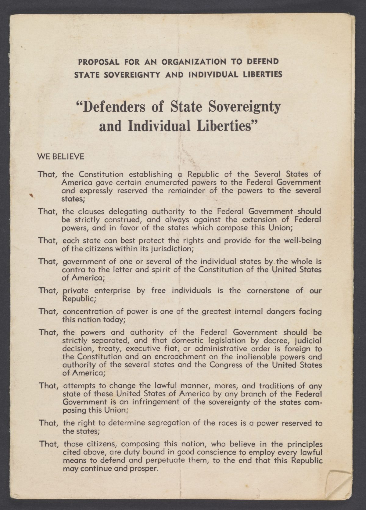 """Proposal for an Organization to Defend State Sovereignty and Individual Liberties: """"Defenders of State Sovereignty and Individual Liberties"""""""