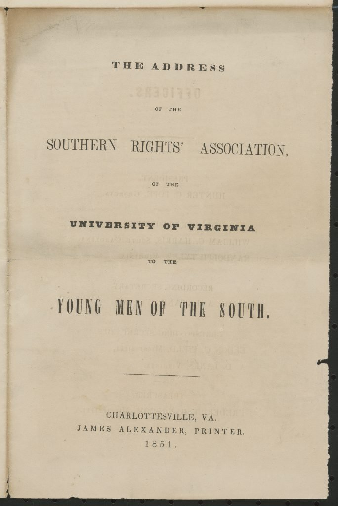 The Address of the Southern Rights' Association
