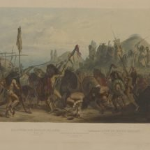 Bison-Dance of the Mandan Indians in front of their Medecine Lodge.