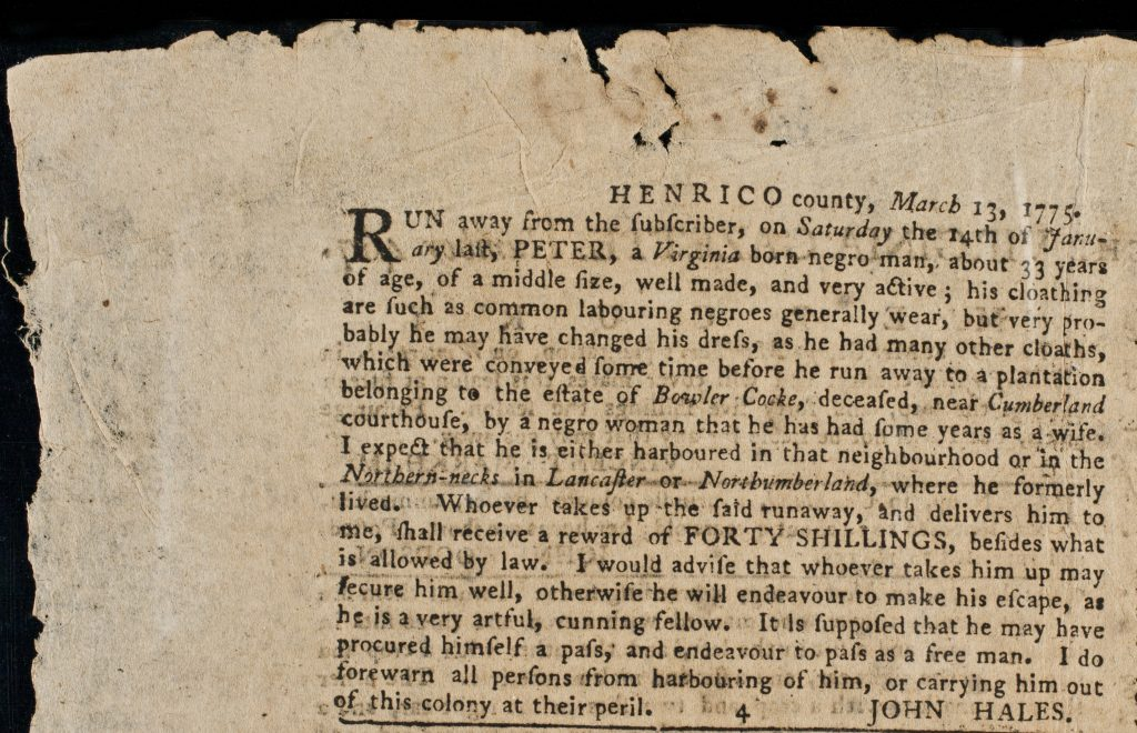 Advertisement for Runaway Slave Peter