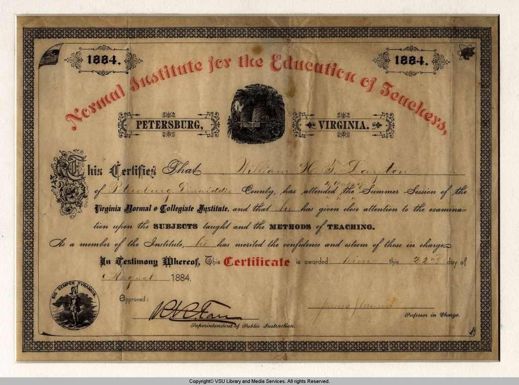 Certificate from Virginia Normal and Collegiate Institute