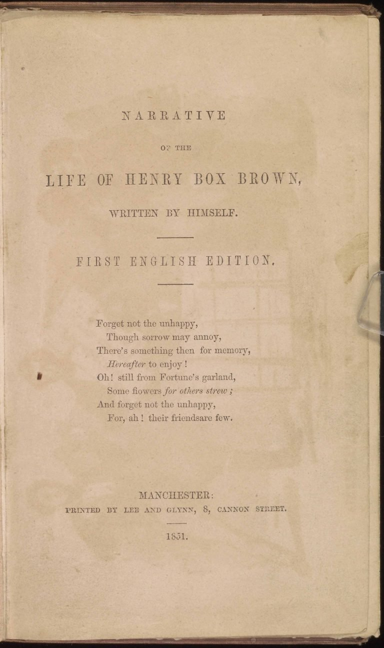 Title page of Narrative of the Life of Henry Box Brown