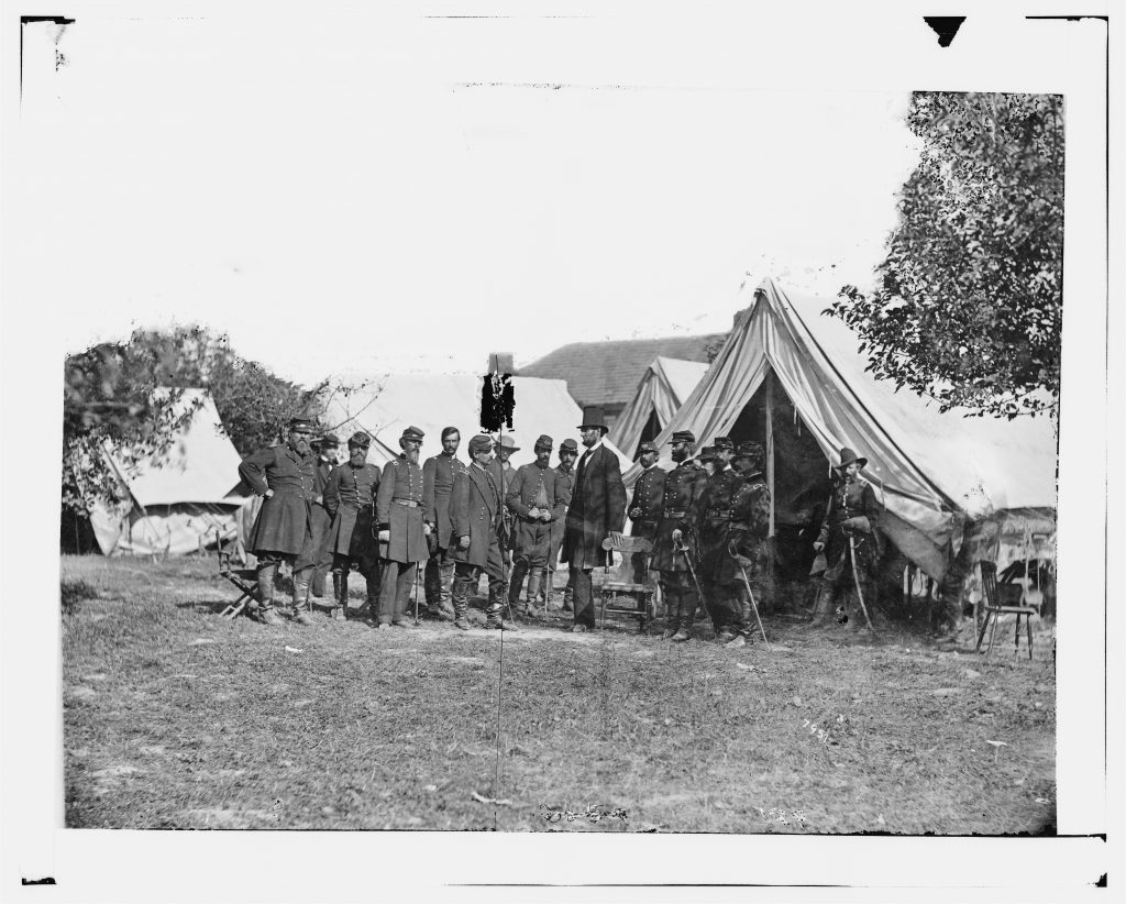 President Lincoln With General George B. McClellan and Officers