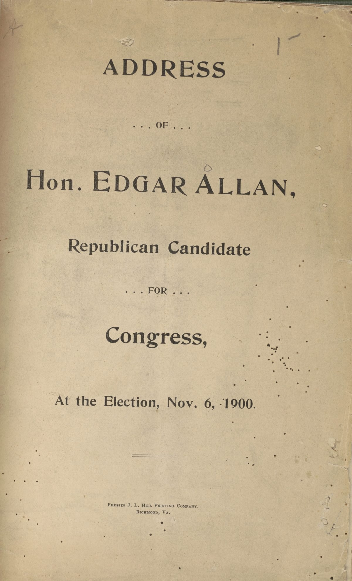 Address of Hon. Edgar Allan