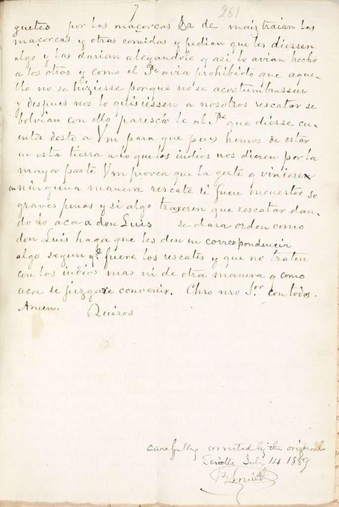 Letter from Luis de Quirós and Juan Baptista de Segura to Juan de Hinistrosa (September 12