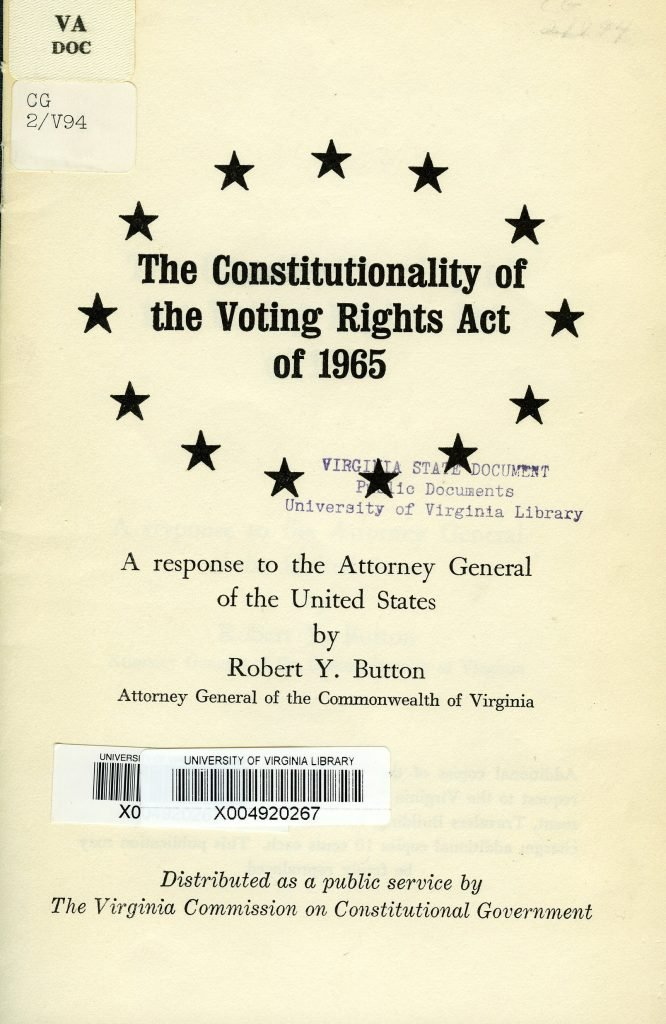 The Constitutionality of the Voting Rights Act of 1965