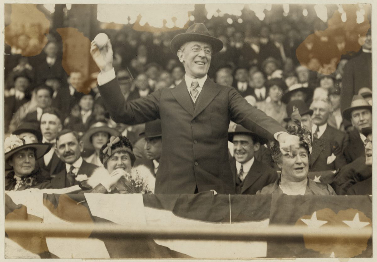 President Woodrow Wilson Throwing Out the First Ball