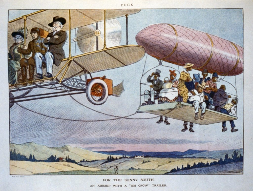 "For the Sunny South. An Airship with a ""Jim Crow"" Trailer."
