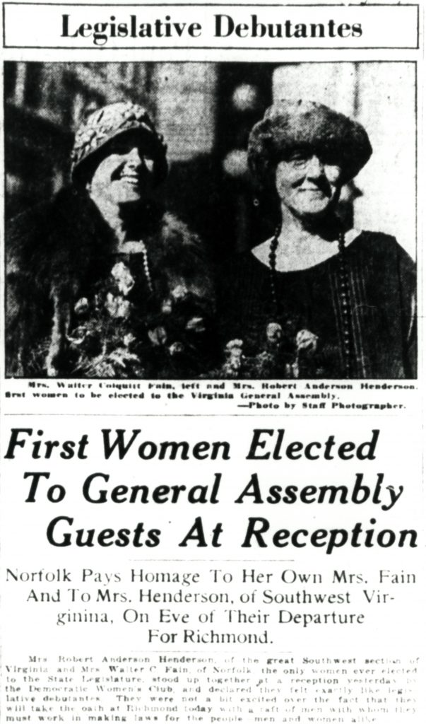 First Women Elected to the General Assembly