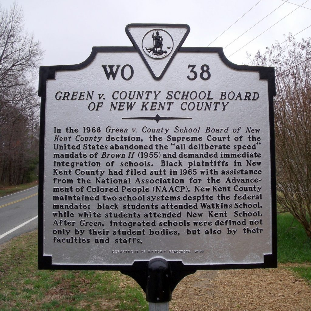 Green v. County School Board of New Kent County Historical Marker