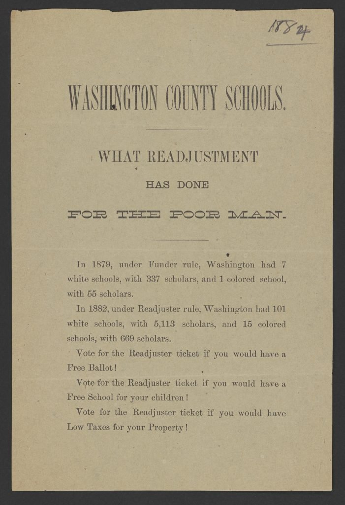 Washington County Schools. What Readjustment Has Done for the Poor Man.