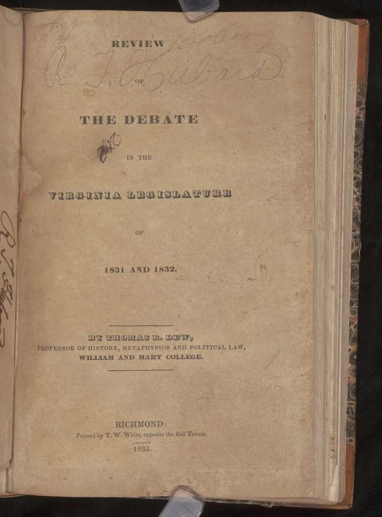 Review of the Debate in the Virginia Legislature of 1831 and 1832.