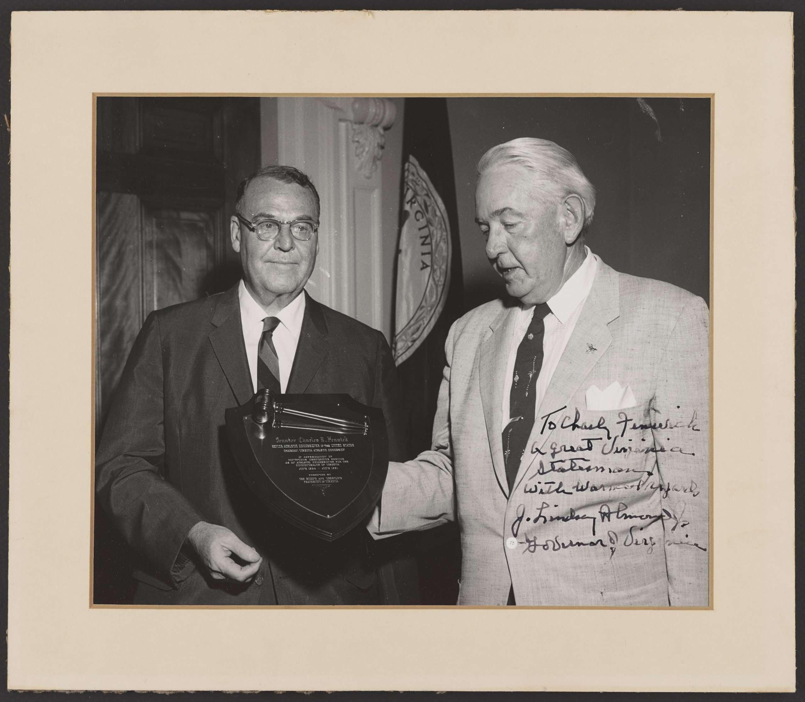 Governor J. Lindsay Almond Jr. and Charles Fenwick