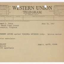 Telegram Announcing the Decision in Loving v. Virginia