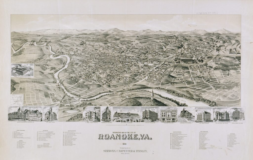 Perspective Map of the City of Roanoke