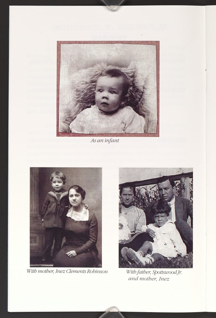 Childhood Photographs of Spottswood W. Robinson III