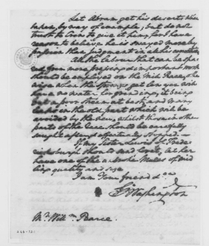 Letter from George Washington to William Pearce (March 30