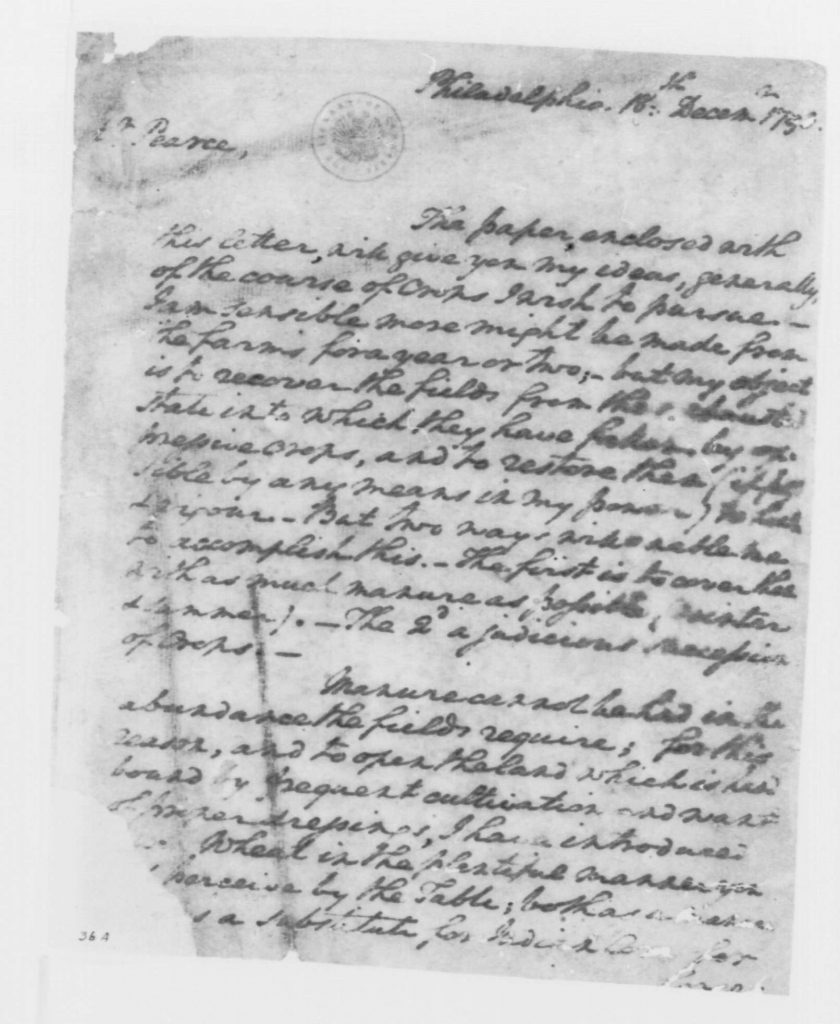 Letter from George Washington to William Pearce (December 18