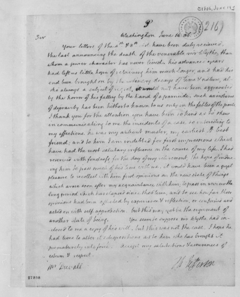Letter from Thomas Jefferson to William DuVal (June 14