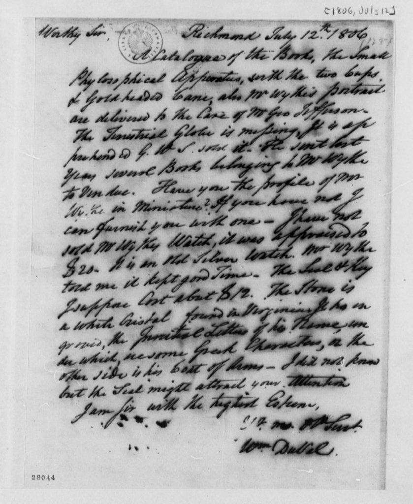 Letter from William DuVal to Thomas Jefferson (July 12