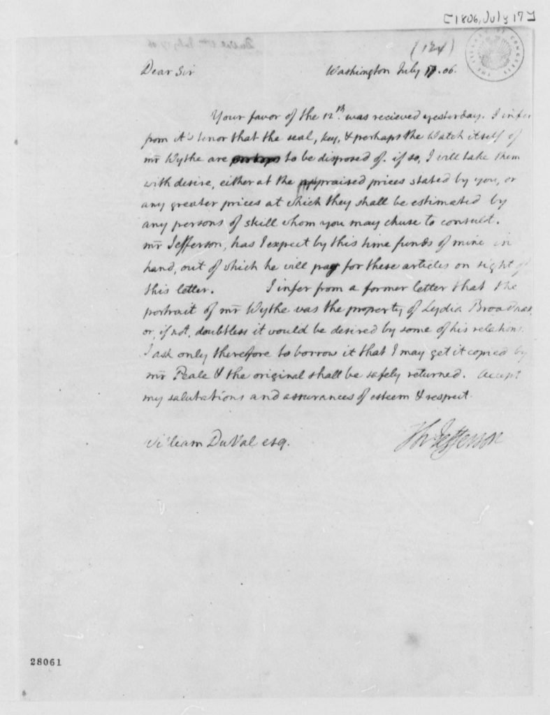 Letter from Thomas Jefferson to William DuVal (July 17