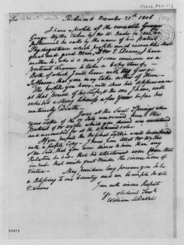 Letter from William DuVal to Thomas Jefferson (November 21