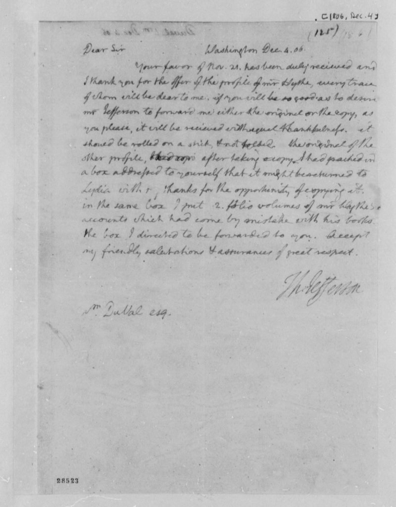 Letter from Thomas Jefferson to William DuVal (December 4