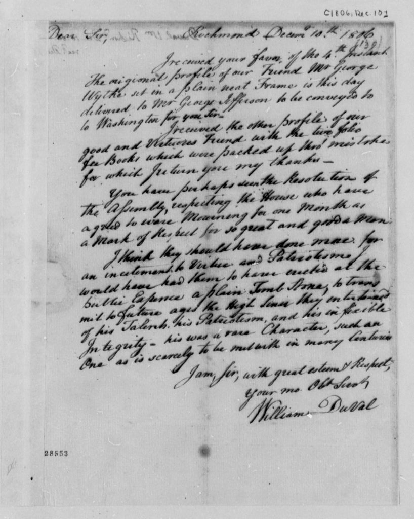 Letter from William DuVal to Thomas Jefferson (December 10