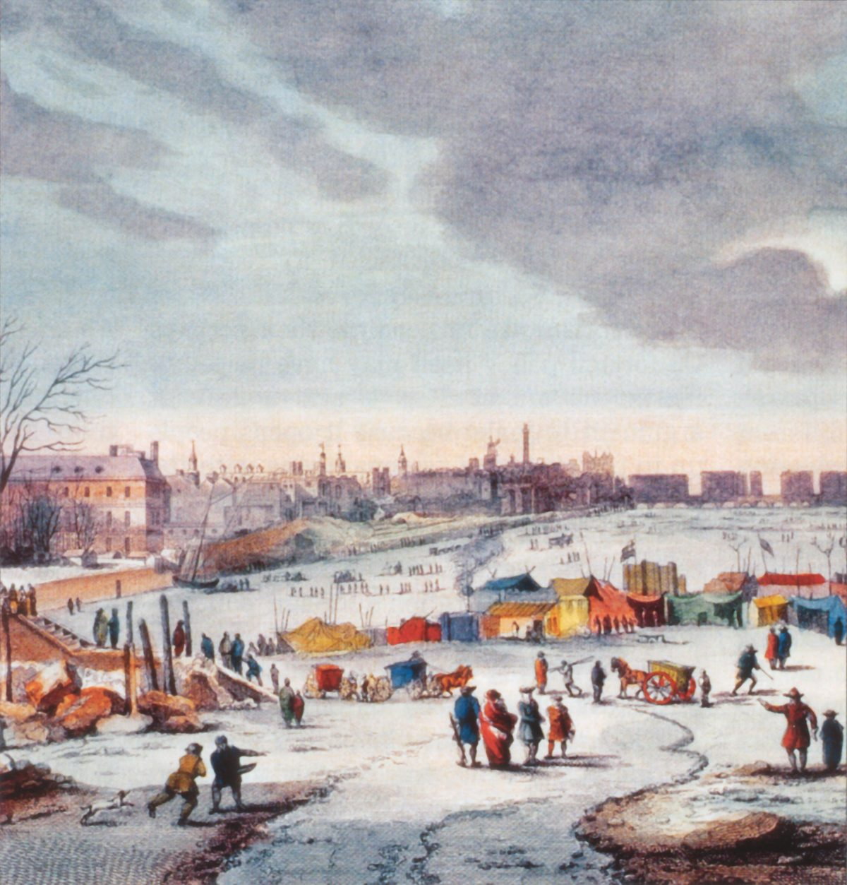 Detail from Frost Fair on the River Thames near the Temple Stairs in 1683—84