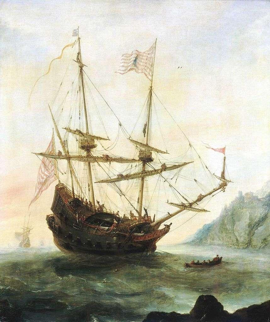 The Santa Maria at anchor