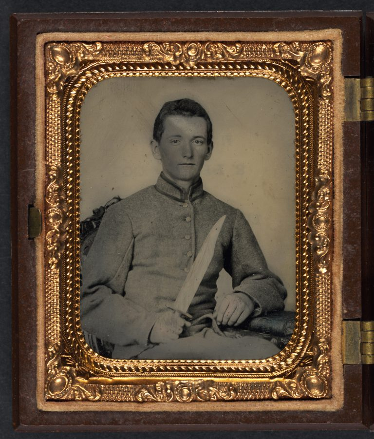 Unidentified Confederate Soldier with Bowie Knife