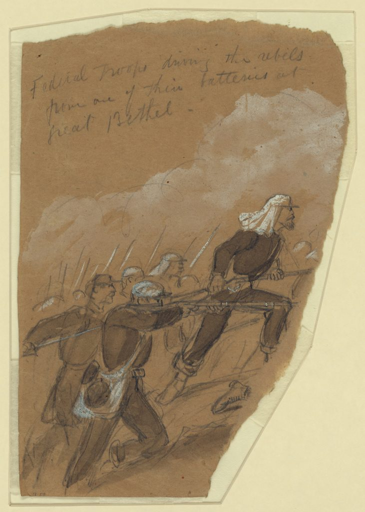Federal Troops driving the rebels from one of their batteries at Great Bethel