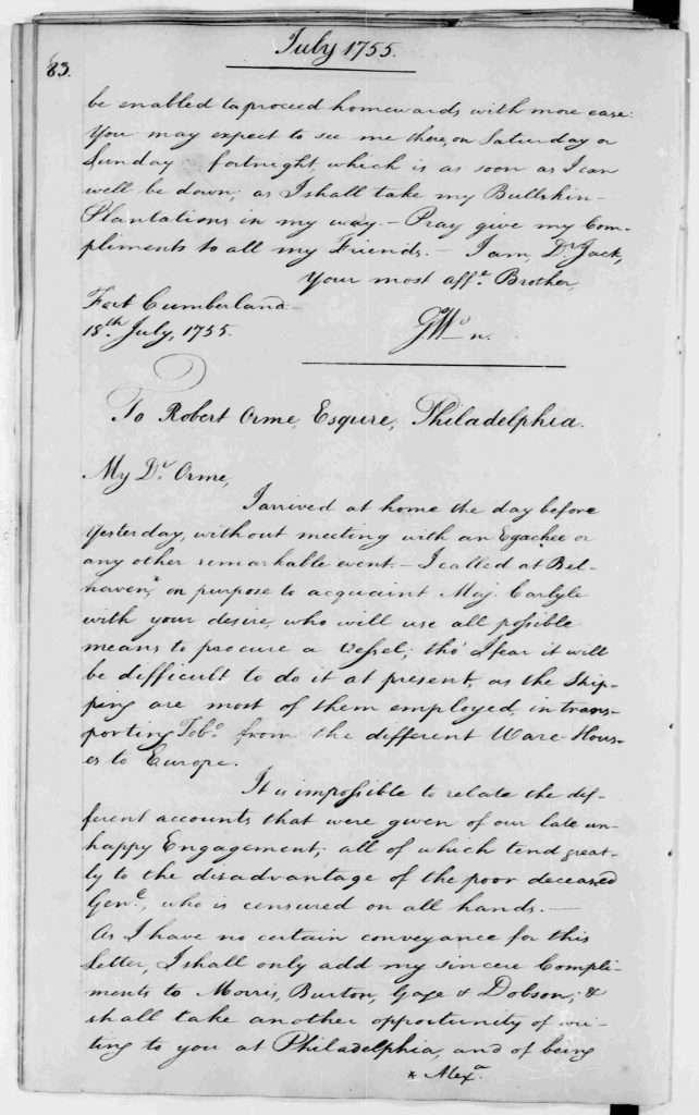Letter from George Washington to John Augustine Washington (July 18