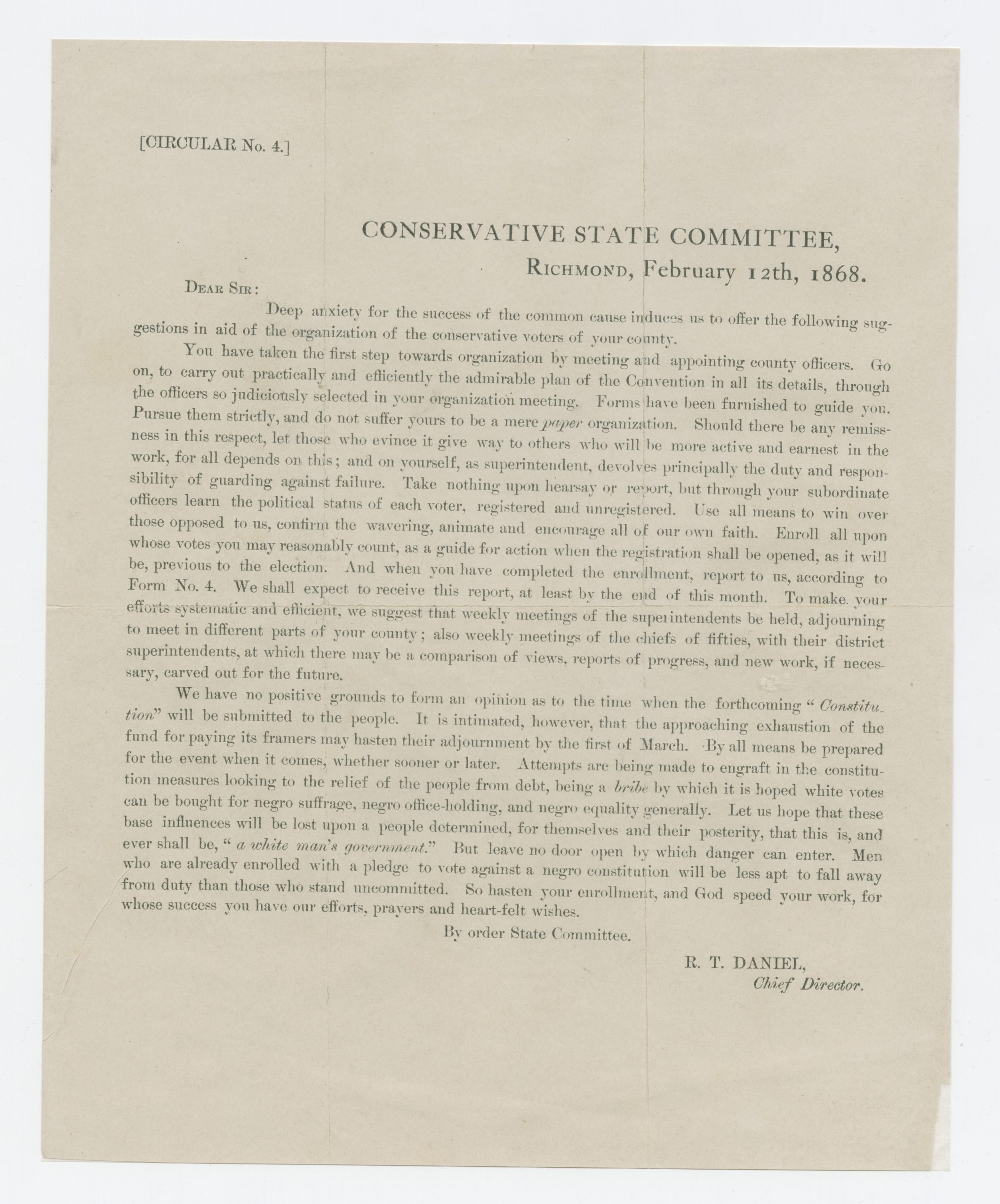 Conservative State Committee Circular No. 4