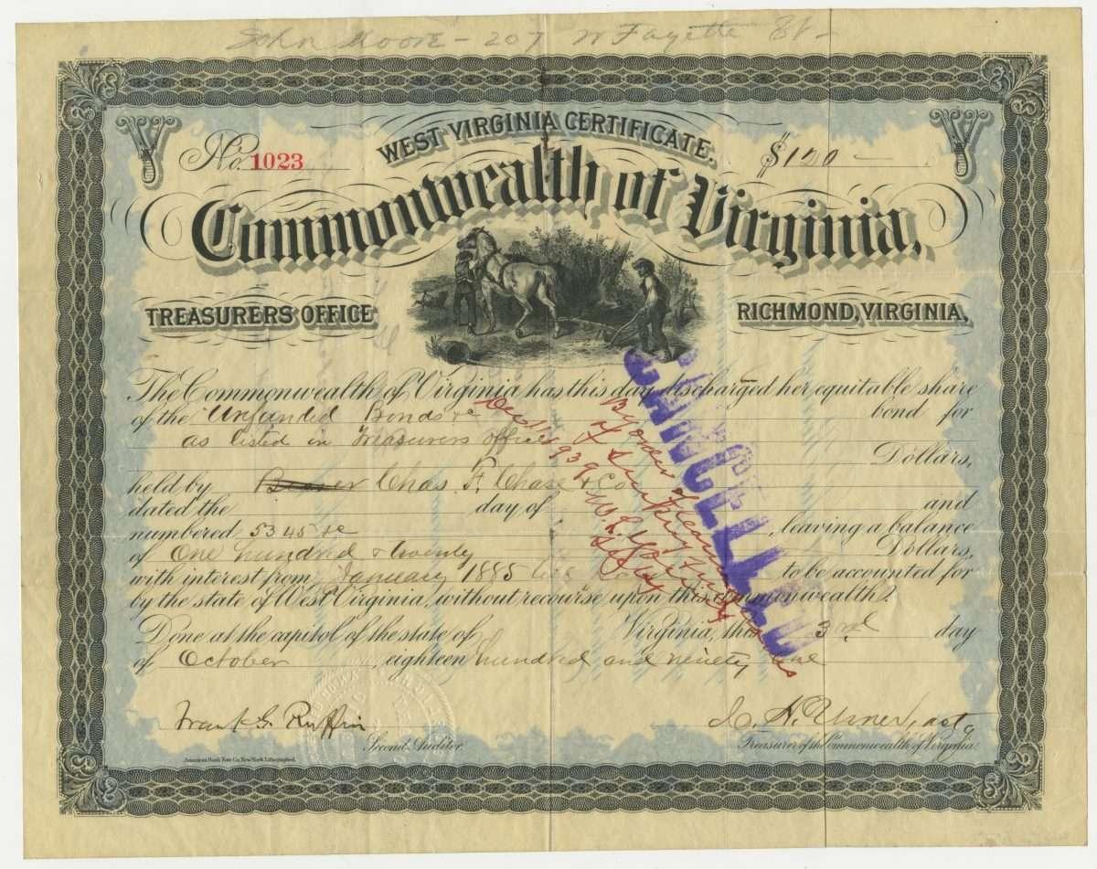 West Virginia Certificate. Commonwealth of Virginia.