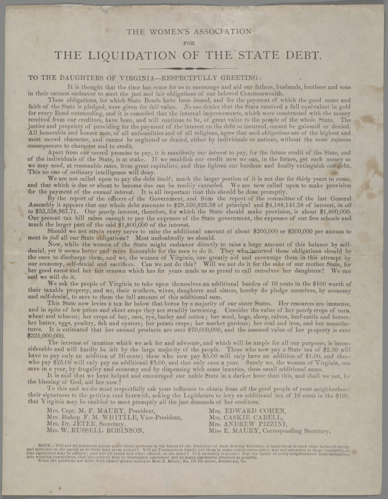 The Women's Association for the Liquidation of the State Debt.