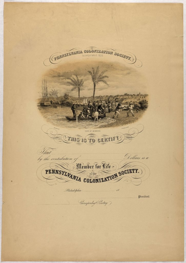 Pennsylvania Colonization Society Membership Certificate