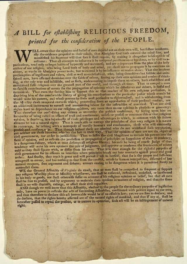 A Bill for establishing Religious Freedom