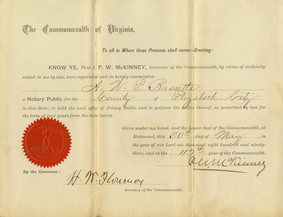 Andrew W. E. Bassette's Commission as Notary Public