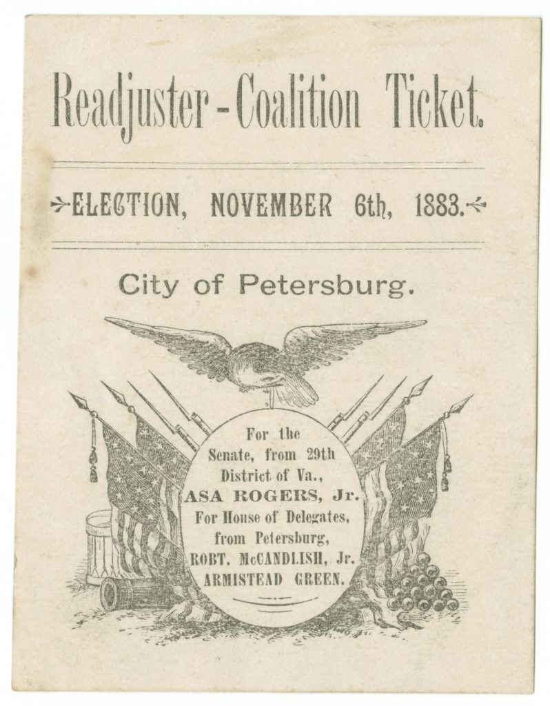 Readjuster-Coalition Ticket.