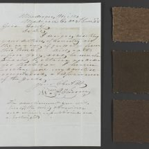 Coarse woolen samples pasted on a board with an accompanying letter offering to sell cloth for the enslaved